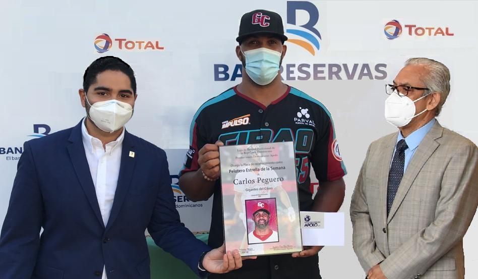 Pelotero Estrella de la Semana premia a Carlos Peguero, de los Gigantes